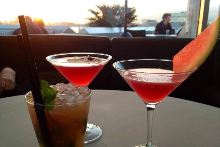 Cocktails at a Rooftop Bar