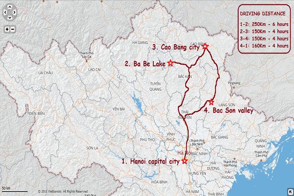 HS08: Vietnam Northeast Loop Tour - 5 days / 4 nights map